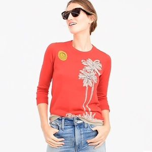 J. Crew Tippi Embroidered Palm Tree Sweater Q0728